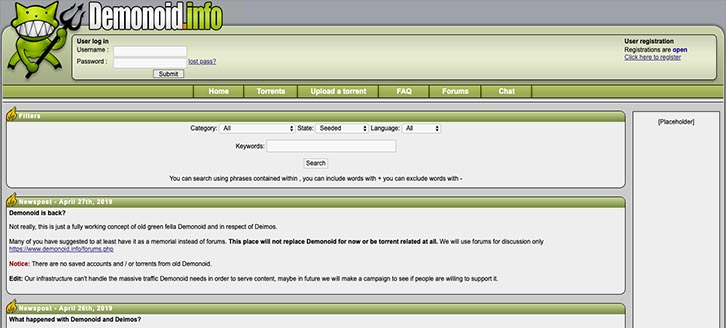 Demonoid Torrent Site